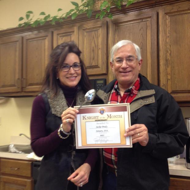 503737-Jackie Brady present Knight of Month award.jpg