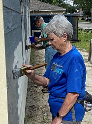 Lynn Hitcock helping out at Habitat for Humanity site